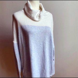 Tahari White & Light Blue Knit Cowl Neck Sweater
